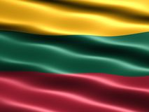 Flag of Lithuania. Computer generated illustration of the flag of Lithuania with silky appearance and waves royalty free illustration