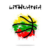 Flag of Lithuania as an abstract basketball ball. Abstract basketball ball painted in the colors of the Lithuania flag. Vector illustration Stock Images