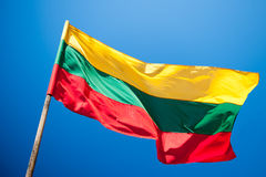 Flag of Lithuania, blue sky Royalty Free Stock Photos