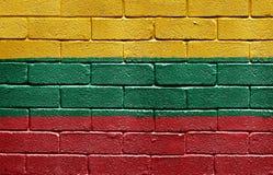 Flag of Lithuania on brick wall Stock Photo