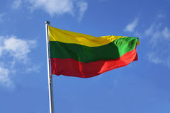 Flag of Lithuania with stripes in yellow, green and red Royalty Free Stock Images