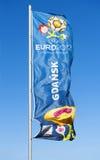 Flag with  logo for UEFA EURO 2012. GDANSK, POLAND - MAY 1: A flag with official logo for UEFA EURO 2012, Gdansk, Poland, May 1, 2012 Royalty Free Stock Photo