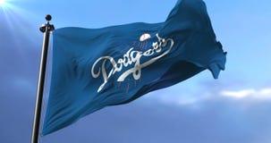 Flag of the Los Angeles Dodgers, american professional baseball team - loop. Flag of the team of the Los Angeles Dodgers, american professional baseball team stock video footage