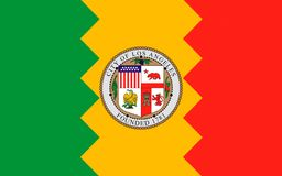 Flag of Los Angeles City, California, USA. Flag of Los Angeles is the second-largest city in the United States after New York City, the most populous city in the Stock Image