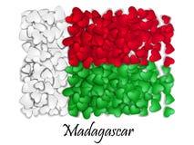 Flag Love Madagascar. Flag Heart Glossy. With love from Madagascar. Made in Madagascar. Madagascar national independence Stock Photos