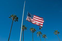 Flag lowered to half-mast Royalty Free Stock Photo