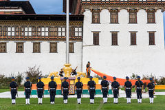Flag lowering ceremony in Bhutan Royalty Free Stock Images