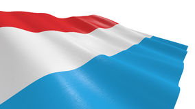 Flag of luxembourg. Close-up view of the flag of luxembourg on white background 3d render Stock Photography