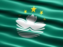 Flag of Macau. Computer generated illustration with silky appearance and waves stock illustration