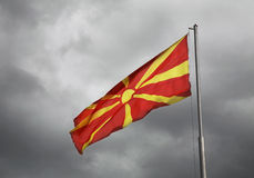 Flag of Macedonia on Central square in Ohrid. Macedonia.  royalty free stock photos