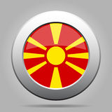 Flag of Macedonia. Shiny metal gray round button. Stock Photos