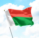 Flag of Madagascar. Raised Up in The Sky Stock Photography