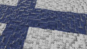 Flag of Finland being made with jigsaw puzzle pieces. Finnish problem solution conceptual 3D rendering. Flag made of puzzle pieces, conceptual 3D stock illustration