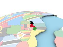 Flag of Malawi on bright globe. Malawi on political globe with embedded flags. 3D illustration Royalty Free Stock Photography
