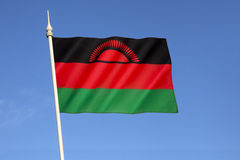 Flag of Malawi. Officially adopted on 6th July 1964 when the colony of Nyasaland became independent from British rule and renamed itself Malawi Royalty Free Stock Photos