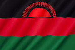 Flag of Malawi. Officially adopted on 6th July 1964 when the colony of Nyasaland became independent from British rule and renamed itself Malawi Stock Photo