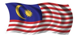Flag of Malaysia. Waving in the wind - CLIPPING PATH INCLUDED Stock Image