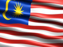 Flag of Malaysia. Computer generated illustration with silky appearance and waves Royalty Free Stock Image