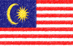 Flag of Malaysia background o texture, color pencil effect. Stock Photography