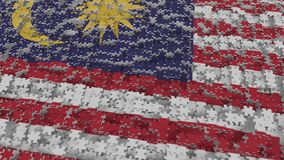 Flag of Malaysia being made with jigsaw puzzle pieces. Malaysian problem solution conceptual 3D rendering. Flag made of puzzle pieces, conceptual 3D royalty free illustration