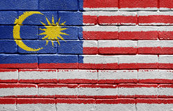 Flag of Malaysia on brick wall royalty free stock photo