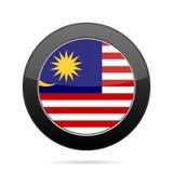 Flag of Malaysia. Shiny black round button. Royalty Free Stock Photo