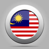 Flag of Malaysia. Shiny metal gray round button. Royalty Free Stock Images