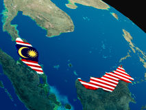 Flag of Malaysia from space Stock Photo