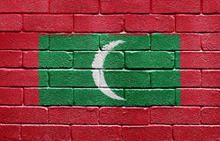 Flag of Maldives on brick wall Stock Images