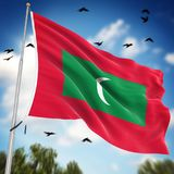 Flag of Maldives. This is a computer generated and 3d rendered image Royalty Free Stock Photo