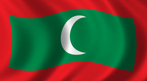 Flag of Maledives. Waving in the wind Royalty Free Stock Images