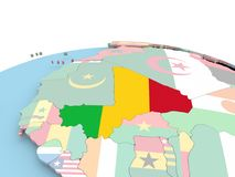 Flag of Mali on bright globe. Mali on political globe with embedded flags. 3D illustration Royalty Free Stock Photography