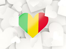 Flag of mali, heart shaped stickers. Background. 3D illustration Royalty Free Stock Images