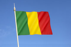 Flag of Mali. The national flag of Mali - The flag is almost identical to the flag of Guinea, with the exception that the colors are in reverse order. The Royalty Free Stock Photos