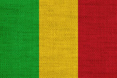 Flag of Mali on old linen Stock Photos