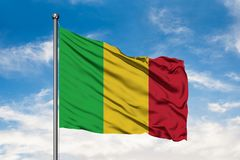 Flag of Mali waving in the wind against white cloudy blue sky. Malian flag.  stock photography