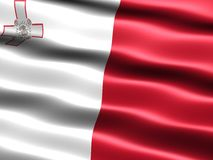 Flag of Malta. Computer generated illustration of the flag of Malta with silky appearance and waves stock illustration