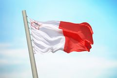 Maltese flag. Flag of Malta against the background of the sky Stock Images