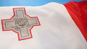 Flag of Malta. The flag of Malta - It has a representation of the George Cross, awarded to Malta by King George VI in 1942 stock video footage