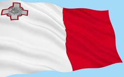 Flag of Malta. A representation of the George Cross, awarded to Malta by Britains King George VI in 1942, is in the top left corner of the flag Royalty Free Stock Images