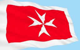Flag of Malta. A representation of the George Cross, awarded to Malta by Britains King George VI in 1942, is in the top left corner of the flag Royalty Free Stock Photos