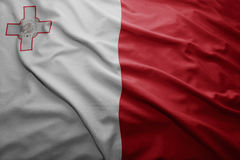 Flag of Malta. Waving colorful national Maltese flag Stock Image