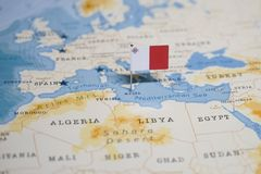 The Flag of malta in the world map royalty free stock images
