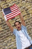 Flag Man. Excited Flag Man Royalty Free Stock Image