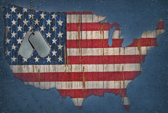 Flag Map. Military dog tags on American flag map royalty free illustration