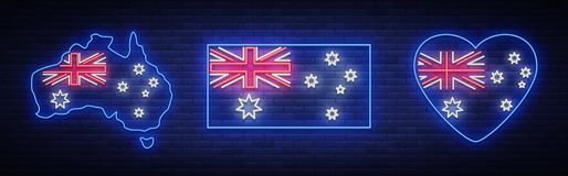Flag and map of Australia is a collection of neon signs. Vector Illustrations, Neon Banner, Luminous Billboard, Bright royalty free illustration