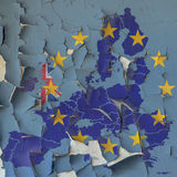 Flag and map of EU on a cracked paint wall Royalty Free Stock Images
