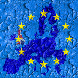 Flag and map of EU on a cracked surface Stock Images
