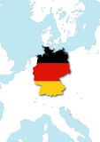 The flag and map of Germany Royalty Free Stock Photography