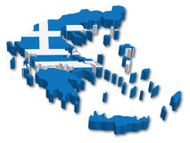 Flag Map of Greece Stock Photography